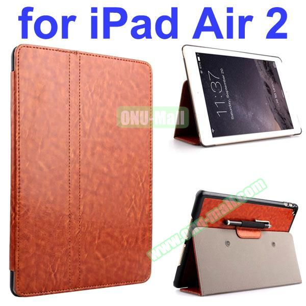 Crazy Horse 2 Folding Stand  Flip PU Leather Case with Suckers and Pen Holder for iPad Air 2 (Brown)