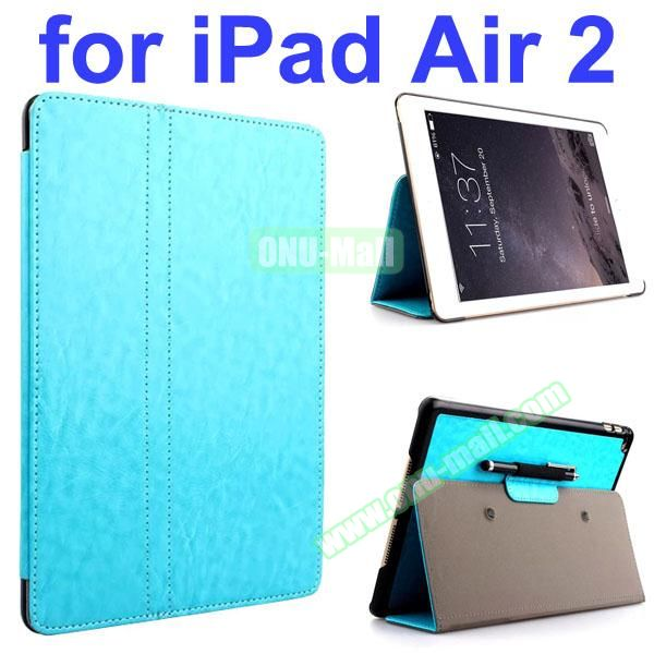 Crazy Horse 2 Folding Stand  Flip PU Leather Case with Suckers and Pen Holder for iPad Air 2 (Light Blue)