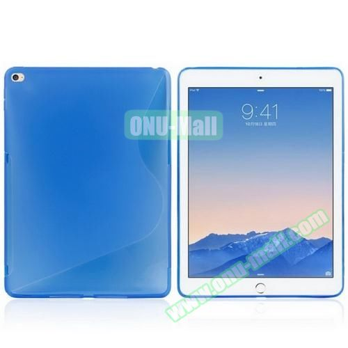 S Line Design Anti-slip Frosted TPU case for iPad Air 2 (Blue)