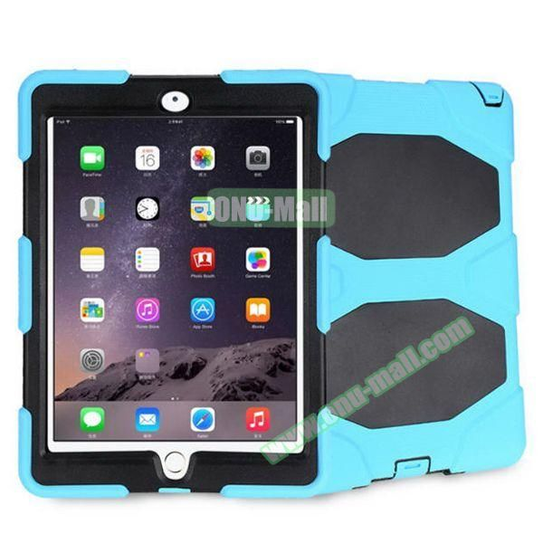 3 in 1 Pattern PC+ Silicone Heavy Duty Hybrid Case for iPad Air 2 (Baby Blue)