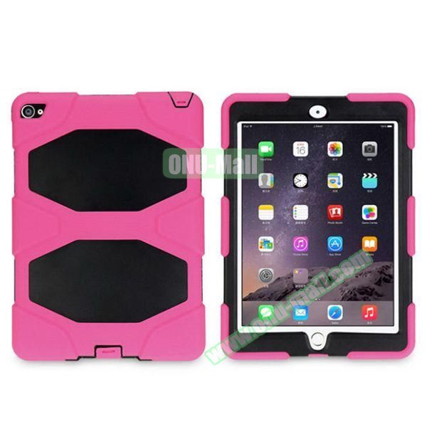 3 in 1 Pattern PC+ Silicone Heavy Duty Hybrid Case for iPad Air 2 (Rose)