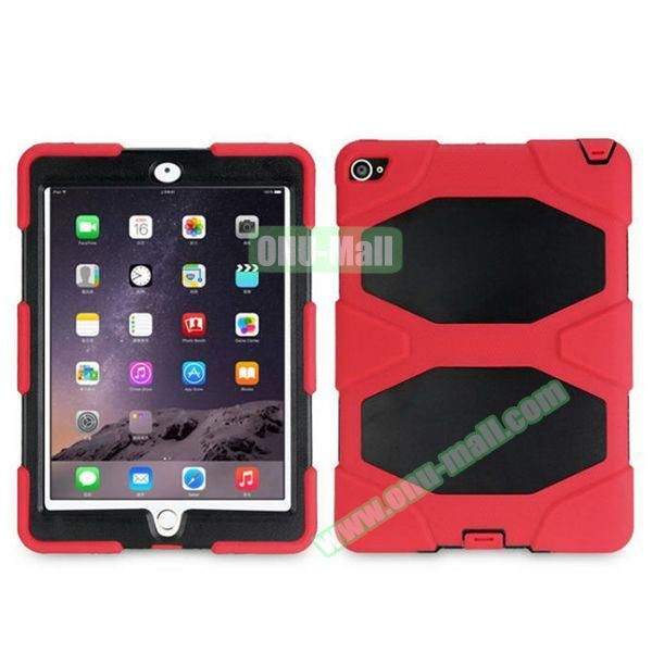 3 in 1 Pattern PC+ Silicone Heavy Duty Hybrid Case for iPad Air 2 (Red)