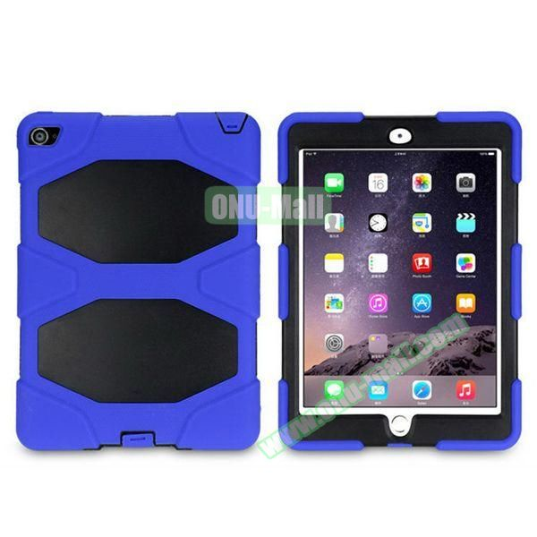 3 in 1 Pattern PC+ Silicone Heavy Duty Hybrid Case for iPad Air 2 (Blue)