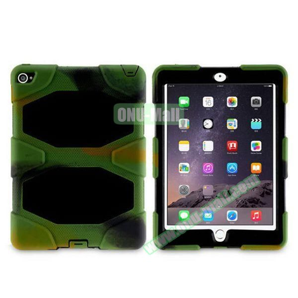 3 in 1 Pattern PC+ Silicone Heavy Duty Hybrid Case for iPad Air 2 (Camo)
