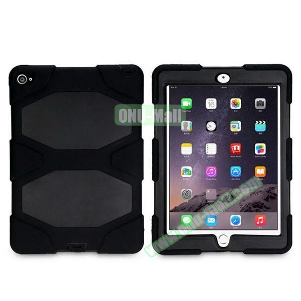 3 in 1 Pattern PC+ Silicone Heavy Duty Hybrid Case for iPad Air 2 (Black)
