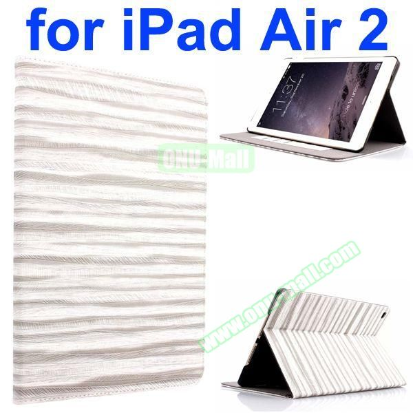 Sand Painting Texture Flip Leather Case for iPad Air 2 with Holder (White)