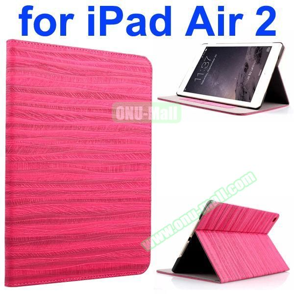 Sand Painting Texture Flip Leather Case for iPad Air 2 with Holder (Rose)