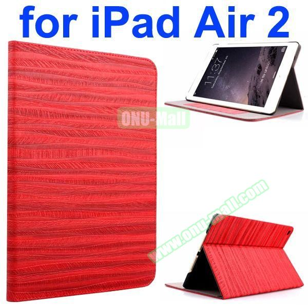 Sand Painting Texture Flip Leather Case for iPad Air 2 with Holder (Red)
