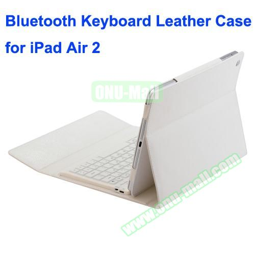 Silicone Bluetooth Keyboard + PU Leather Case for iPad Air 2 with Holder (White)