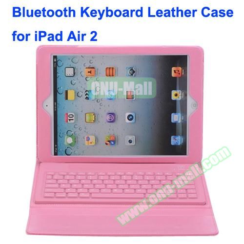 Silicone Bluetooth Keyboard + PU Leather Case for iPad Air 2 with Holder (Pink)