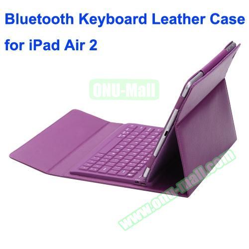 Silicone Bluetooth Keyboard + PU Leather Case for iPad Air 2 with Holder (Purple)