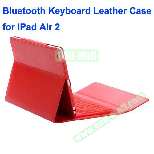 Silicone Bluetooth Keyboard + PU Leather Case for iPad Air 2 with Holder (Red)