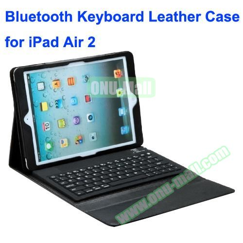 Silicone Bluetooth Keyboard + PU Leather Case for iPad Air 2 with Holder (Black)