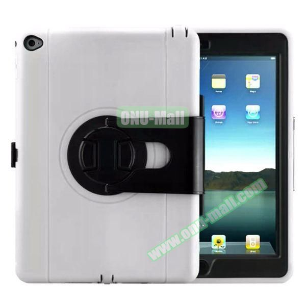 360 Rotating Style Silicone and PC Case for iPad Air 2 (White)