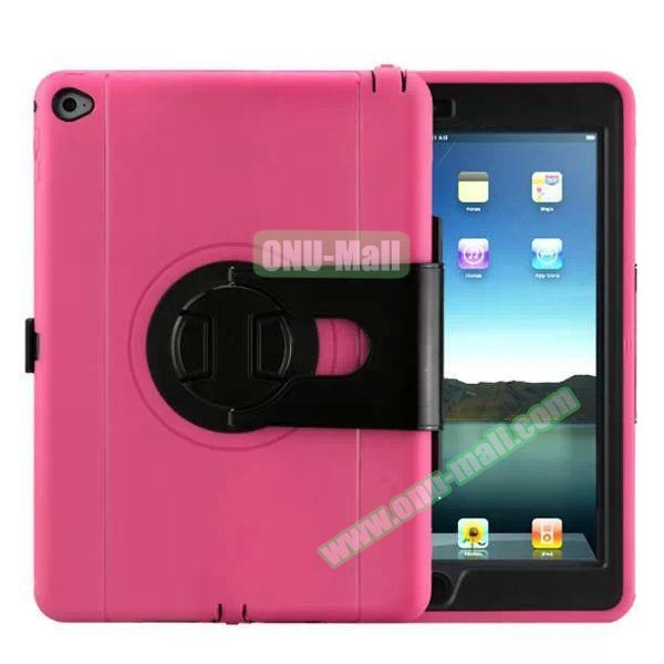 360 Rotating Style Silicone and PC Case for iPad Air 2 (Rose)