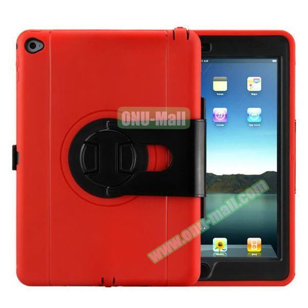 360 Rotating Style Silicone and PC Case for iPad Air 2 (Red)