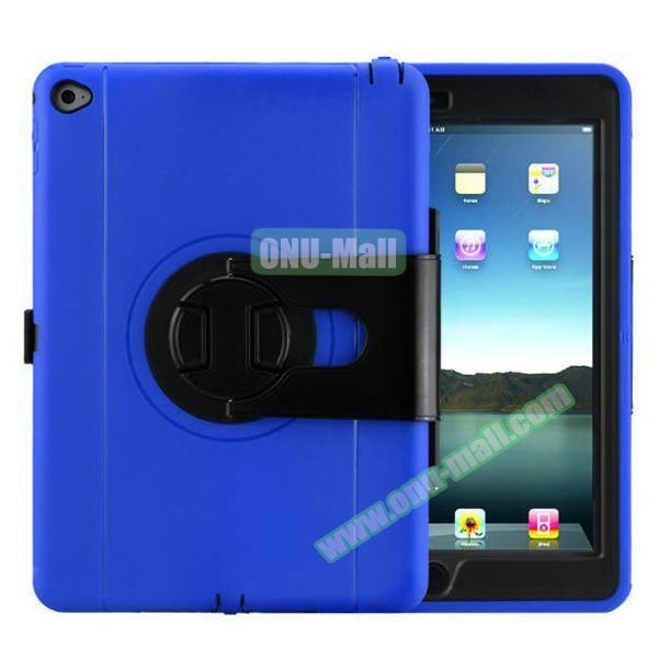 360 Rotating Style Silicone and PC Case for iPad Air 2 (Blue)