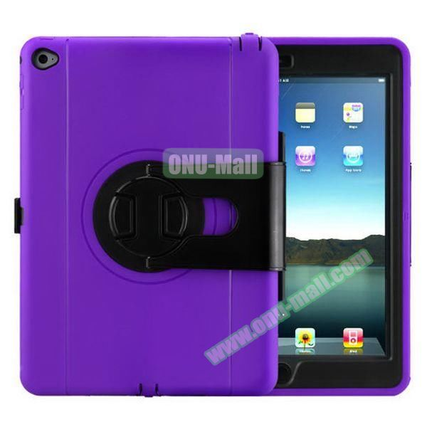 360 Rotating Style Silicone and PC Case for iPad Air 2 (Purple)