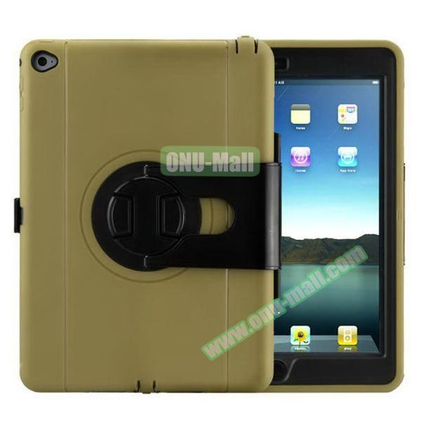 360 Rotating Style Silicone and PC Case for iPad Air 2 (Gold)