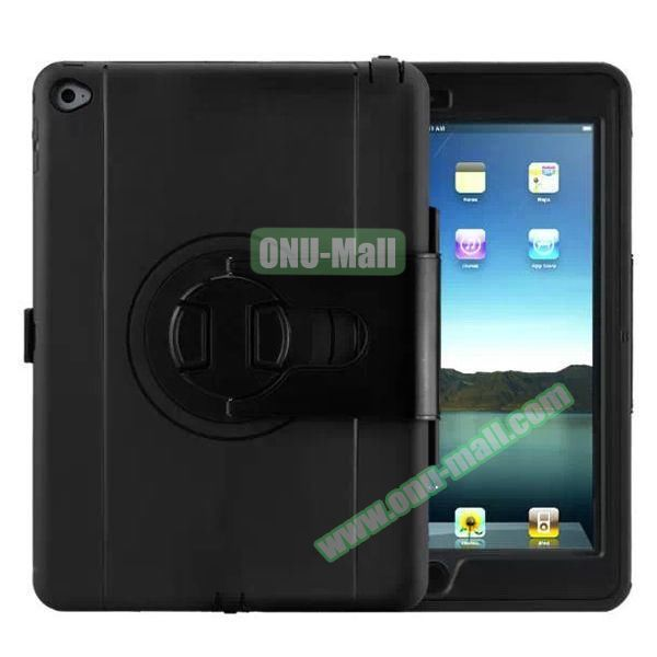 360 Rotating Style Silicone and PC Case for iPad Air 2 (Black)
