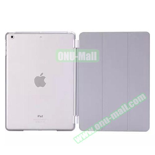 3-Folding Leather Case with Transparent PC Back Smart Cover for iPad Air 2 (Grey)