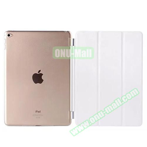 3-Folding Leather Case with Transparent PC Back Smart Cover for iPad Air 2 (White)