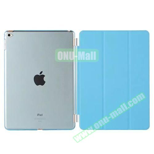 3-Folding Leather Case with Transparent PC Back Smart Cover for iPad Air 2 (Blue)