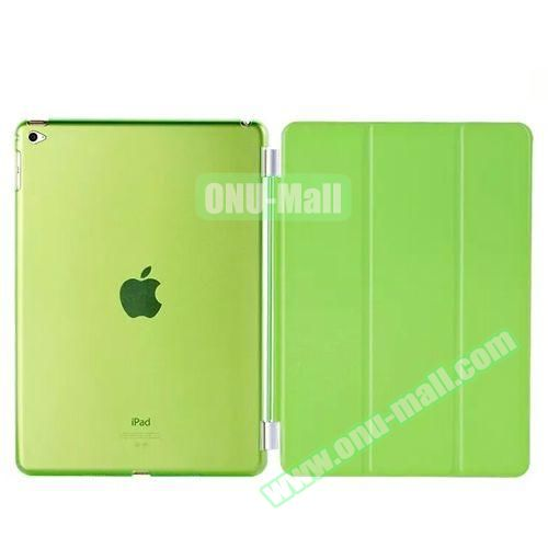 3-Folding Leather Case with Transparent PC Back Smart Cover for iPad Air 2 (Green)
