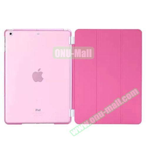 3-Folding Leather Case with Transparent PC Back Smart Cover for iPad Air 2 (Pink)