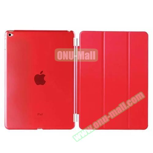 3-Folding Leather Case with Transparent PC Back Smart Cover for iPad Air 2 (Red)