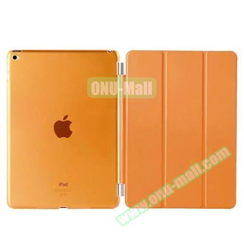 3-Folding Leather Case with Transparent PC Back Smart Cover for iPad Air 2 (Orange)