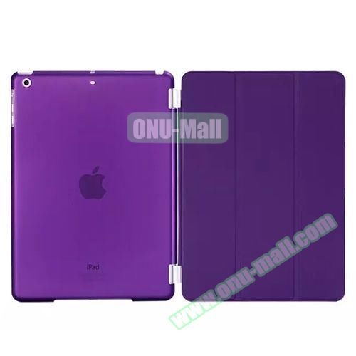 3-Folding Leather Case with Transparent PC Back Smart Cover for iPad Air 2 (Purple)