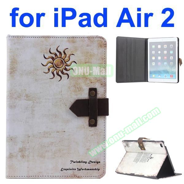 Sun Pattern Retro Style Foldable Flip Cowhide Leather Case for iPad Air 2 with Stand