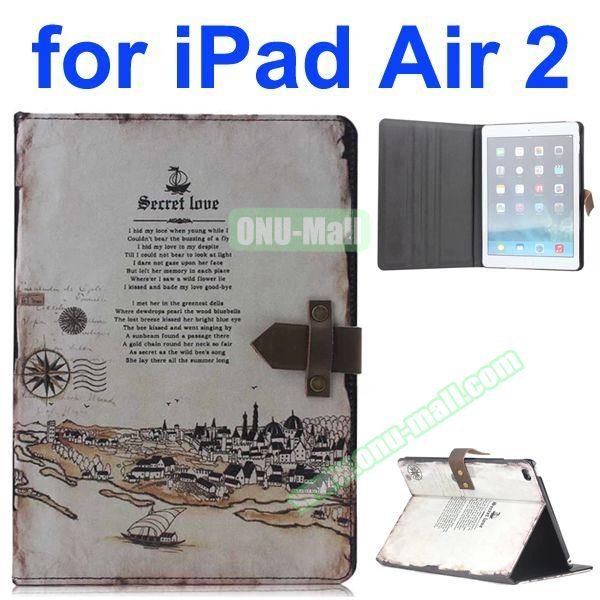 Roman Times Pattern Retro Style Foldable Flip Cowhide Leather Case for iPad Air 2 with Stand