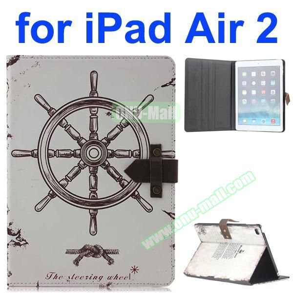 Wheel Pattern Retro Style Foldable Flip Cowhide Leather Case for iPad Air 2 with Stand