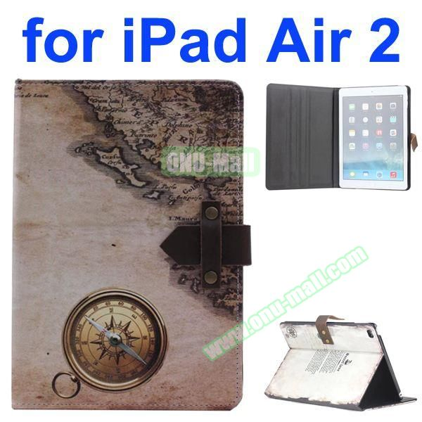 Compass and Map Pattern Retro Style Foldable Flip Cowhide Leather Case for iPad Air 2 with Stand