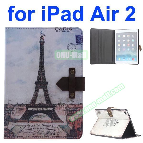 Eiffel Tower Pattern Retro Style Foldable Flip Cowhide Leather Case for iPad Air 2 with Stand
