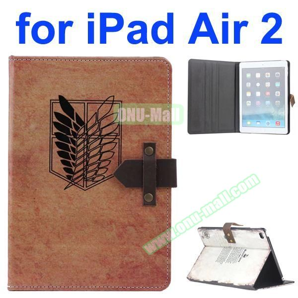 Plume Pattern Retro Style Foldable Flip Cowhide Leather Case for iPad Air 2 with Stand