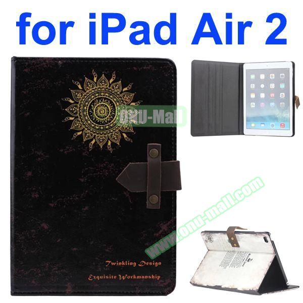 Flower Pattern Retro Style Foldable Flip Cowhide Leather Case for iPad Air 2 with Stand