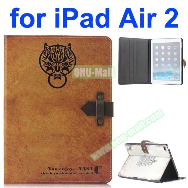 Vintage Patron Saint Pattern Retro Style Foldable Flip Cowhide Leather Case for iPad Air 2 with Stand