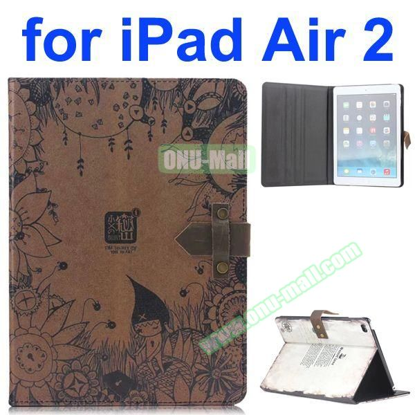 Secret Of Twilight Pattern Retro Style Foldable Flip Cowhide Leather Case for iPad Air 2 with Stand