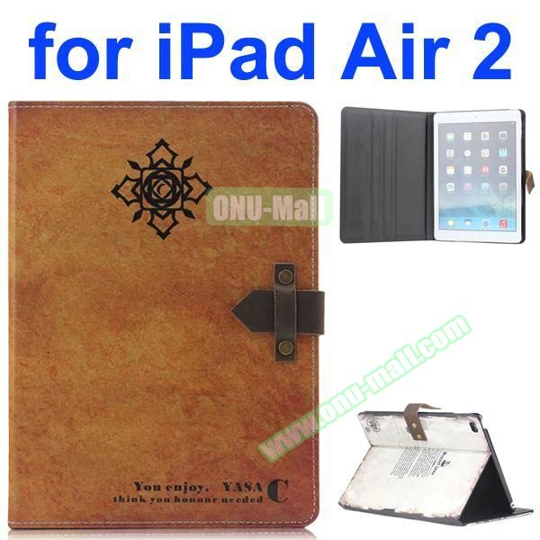 Patron Saint  Pattern Retro Style Foldable Flip Cowhide Leather Case for iPad Air 2 with Stand