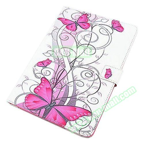 Beautiful Pattern Stand  Flip PU Leather Case for iPad Air 2 (Red Butterfly)