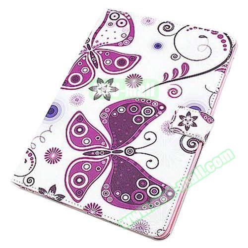 Beautiful Pattern Stand  Flip PU Leather Case for iPad Air 2 (Purple Butterfly)