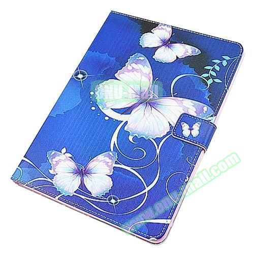 Beautiful Pattern Stand  Flip PU Leather Case for iPad Air 2 (Blue Butterfly)