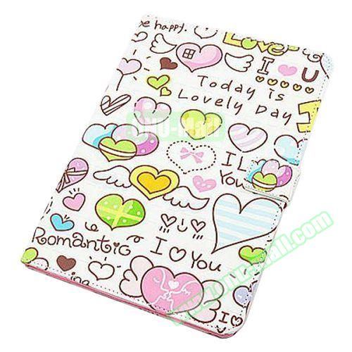Beautiful Pattern Stand  Flip PU Leather Case for iPad Air 2 (Heart Shape)