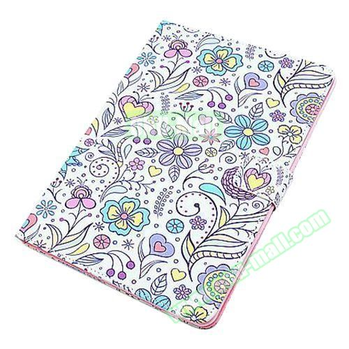 Beautiful Pattern Stand  Flip PU Leather Case for iPad Air 2 (Flower Pattern)