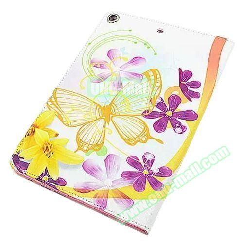 Beautiful Pattern Stand  Flip PU Leather Case for iPad Air 2 (Yellow Butterfly)