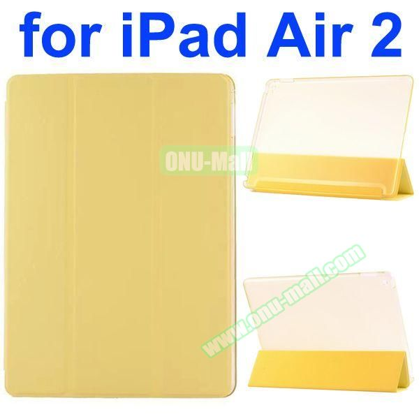 Smooth Texture 3 Folding Ultrathin iPad Air 2 Flip Leather Case with Back Crystal Cover (Yellow)