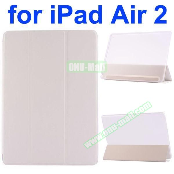 Smooth Texture 3 Folding Ultrathin iPad Air 2 Flip Leather Case with Back Crystal Cover (White)